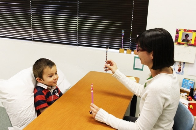 Woman and child in Vision Therapy